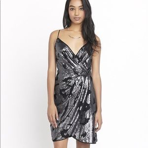 Dynamite silver sequin draped black wrap dress